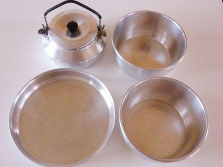 trangia saucepans, frying pan and kettle